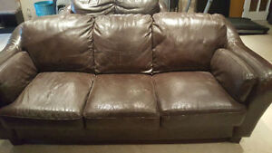 SOLD: Dark Brown Leather Couches