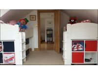A-Space 'Juicy Fruit' Mid Sleeper Cabin Beds for Twins plus furniture