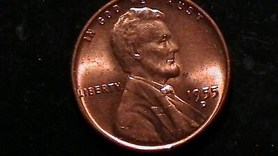 1955 D BRILLIANT UNCIRCULATED LINCOLN CENT  RED BEAUTY!  391A6