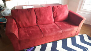 Red Couch with 2 extra pillows  **free side table included**