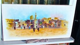 Arabian Market Scene Oil Painting