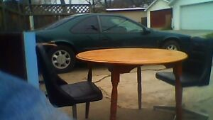ROUND  DINNING  TABLE & 2-LEATHER SWIVEL CHAIRS