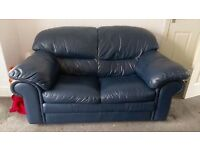 Blue leather 3 + 2 seater sofa suite