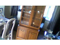 wooden display unit with removable top unit which lights up in good condition