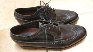 NEW Men's Florsheim black leather wingtip dress shoes sz 10