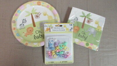 Oh,Baby! Gender Neutral Baby Shower Plates,Napkins & Favors Jungle Animals/Bobos