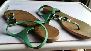 Green sandals Size 10