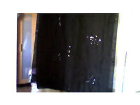 black voile curtains 56x53 in excellent condition they slide onto a pole