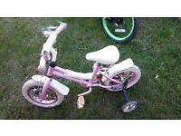 Girls bike 3-5 white and pink