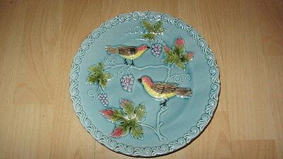"VINTAGE MAJOLICA STYLE PLATE ""BIRDS ON TREE"" EMBOSSED DESIGN"