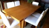 """Oak dining room table and chairs 36""""x72"""""""