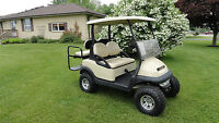 LIFTED CLUB CAR PRECEDENT GOLF CART W/REAR FLIP SEAT & LIGHTS