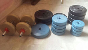 137 Pounds of free weights with 2 Handles.