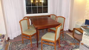 Beautiful Teak Dining Table with Cherry Wood chairs