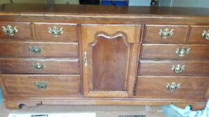 Solid Thomasville Dresser, mirror and night stands