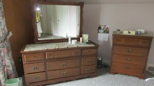 Bedroom high boy and chest of draws with mirror.