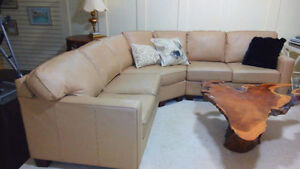 95% New Genuine Leather Sectional Couch, Delivery Available