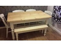 Solid Pine Farmhouse Table and Chairs + Farmhouse Bench Set- Freshly Painted ans Waxed