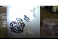 """heavy glass picture of 2 roses which are in mirrored glass size 16"""" x16"""" square"""