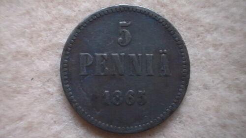 FINLAND 5 PENNIA 1865 in very good condition; RARE