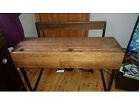 Vintage Victorian Double School Desk table with seats. Cafe furniture