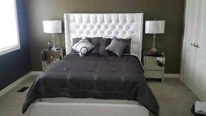 Custom Queen Size Tufted Leather Bed Frame