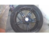 """alloy wheels and tyres 17 """" black devil brand , 3 fine tyres 1 not so good low prof 215/45zr17"""