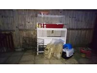 Rabbit / Guinea Pig Hutch and Run with extra Equipment and Food.