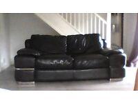 black leather csl 2 seater sofa with chrome feet and chrome trim