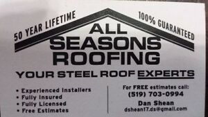 ALL SEASONS ROOFING-steel roofing specialists Stratford Kitchener Area image 1