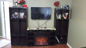 Sylvania Electric Fireplace Heater w/ remote and 2 big shelves m