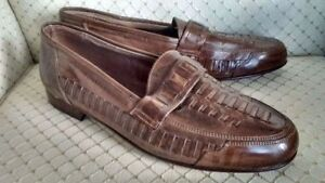 MEN'S  BROWN DRESS / CASUAL SLIP-ON LOAFERS SIZE 44 EU / 10 1/2