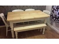 Solid Pine Farmhouse Table and Chairs + Farmhouse Bench Set- Freshly Painted and Waxed