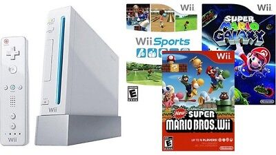 Nintendo Wii Sports Console System Bundle Lot W/ New Super Mario Bros & Galaxy !