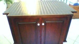 Price Reduced!  Kitchen Island Table and Cupboard