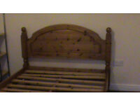 Solid Wooden Double Bed, Pine.