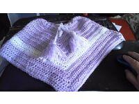 Hand made crochet baby girls poncho shawl 6-12 month NEW