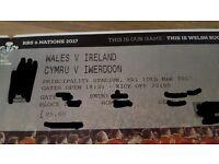 1 Wales v Ireland ticket 6 nations