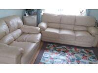 Leather cream colour 3 & 2 seats sofa