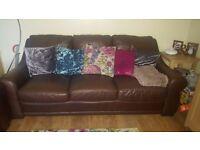 Brown leather sofa x2