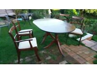 Dining Table with 4 Chairs, Regency Style Mahogany
