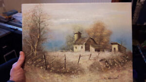"*Nice ORIGINAL OIL on CANVAS PAINTING (16"" X 12""), / Barn Scene"