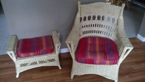 NEW Wicker Chair , Stool & Cushions