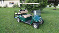ELECTRIC EZ-GO GOLF CARTS WITH REAR FLIP SEATS & LIGHTS