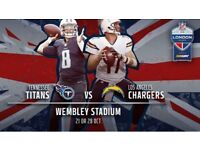 2 x NFL Tickets Tennessee Titans v Los Angeles Chargers Wembley CLUB Seats