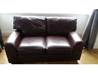 Italian leather two seater sofa