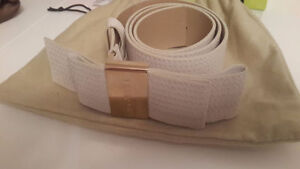 Versace leather belt with light gold buckle