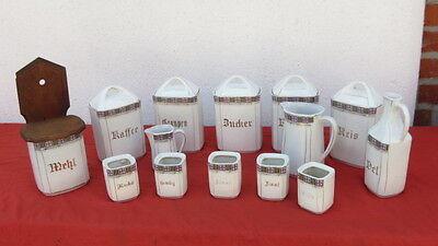 96/17/716 Keramikdose Porzellangefäß Vorratsdose Küchenset um 1900