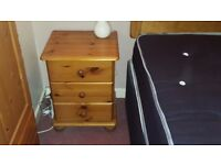 Antique pine bedside table
