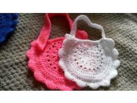 Hand crochet knitted baby bibs ideal gift